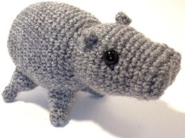 Gray Hippo Crochet Amigurumi (pattern available) by StarbeamerPatterns