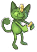 tiny green meowth by polywomple