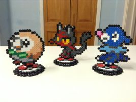 Pokemon Sun/ Moon Starter Stands- Hama Designs by Dogtorwho