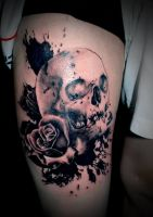Realistic Skull And Rose By Artchie by HammersmithTattoo