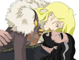 Eskimo kiss - Ayren and Thorin by Fingerinthenoise