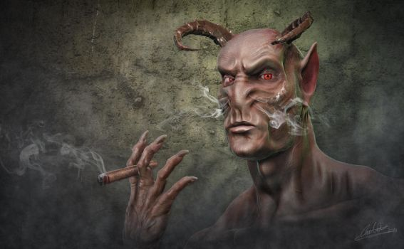 Smoking Devil ZBrush and Photoshop by Caine-Design