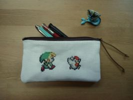 Cross stitch Link and chicken pencil case by Miloceane