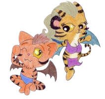 Claw and Tamora Chibis by LE2