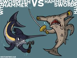 Swordfish vs Hammerhead by GagaMan