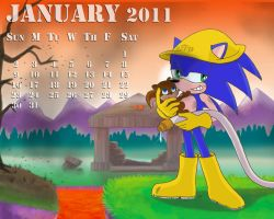 Sonic Calendar Jan 2011 by KezART