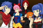 Sonic, Amy, Knuckles and Sonette - Halloween by MilesPrower2011