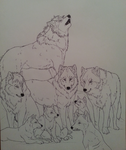 Wolf Pack Lineart (Un-colored) by WhiteWolfCrisis13