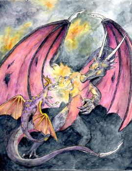 Spyro v. Cynder by SuperGiantBird