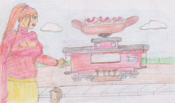 Tallulah and the hotdog stand comp by WhippetWild