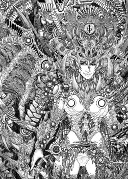 Beast Machine Synthesis  Pen and Ink by johnbecaro