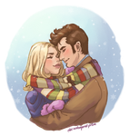Sharing a Scarf by the-untempered-prism