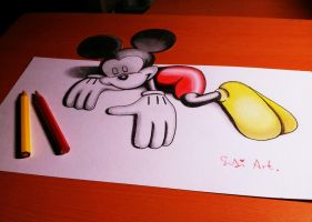 3D Drawing Mickey Mouse by SudiLin