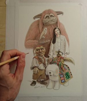 LABYRINTH Main characters Jim Henson David Bowie by Skulpturen
