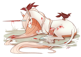 Unicorn with Crows by Famosity