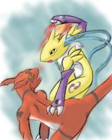 Renamon vs Guilmon by drantyno