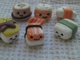 sushi kawaii style set in fimo by elfaaa