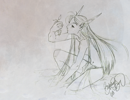 by the shore - sketch by OJanSan