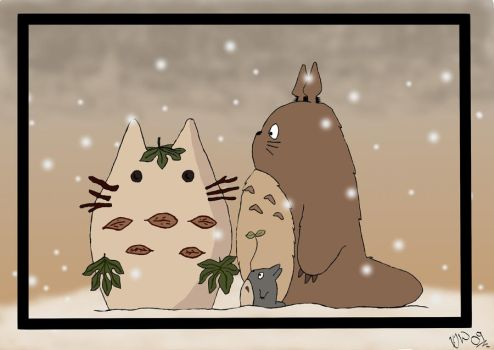 Totoro Fanart:- Snowing by Solinswith