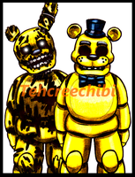 Springtrap and golden freddy by tehcreechibi