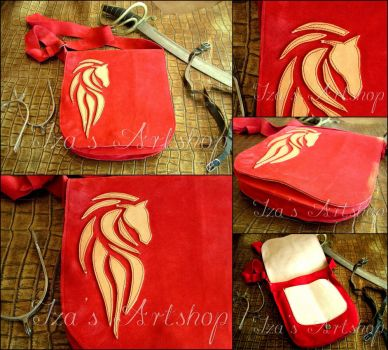Fantasy Raspberry Suede Messenger Bag with a Horse by izasartshop