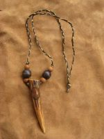 Earthy antler tine necklace by lupagreenwolf