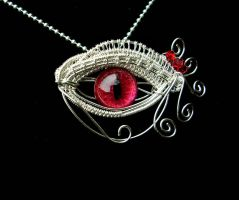 Wire Wrap - Red Egyptian Dragon Evil Eye 1 by LadyPirotessa
