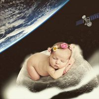 Baby on the moon  by zephyire
