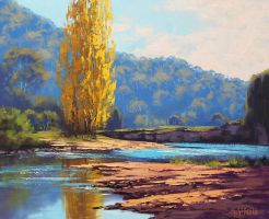 Golden Popular Tumut River by artsaus