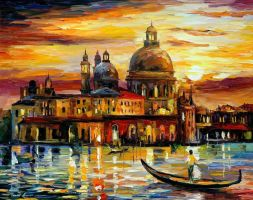 The Golden Skies of Venice by Leonid Afremov by Leonidafremov