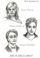 SKETCHES I - HP Actors by Mrs-C