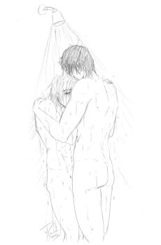 Shower fun Cal+Aph by Destinyfall