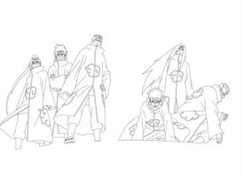Six Paths of Pain Lineart by Amaranth-Sparrow