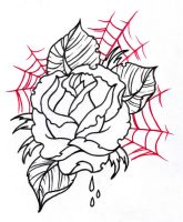 Neo Traditional Rose Outline 2 by vikingtattoo