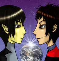 Spock vs. Q by Kyohi-no-Mekura