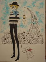 French girl and blue scarf by molnareszter
