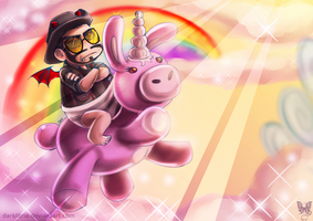 TF2: CBSniper riding the unicorn by DarkLitria