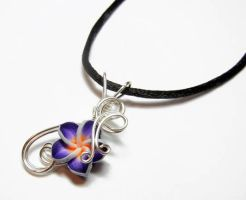 Wire Wrap Plumaria Flower Perfume Pendant by Create-A-Pendant