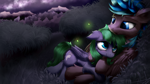 Starlight Field Cuddles [Commission] by AurelleahEverfree