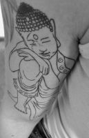 Getting a Resting Buddha Tattoo by cactusmumkate