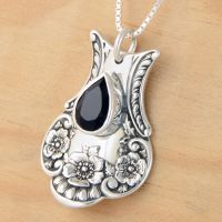 Spoon Pendant w Black Spinel by metalsmitten