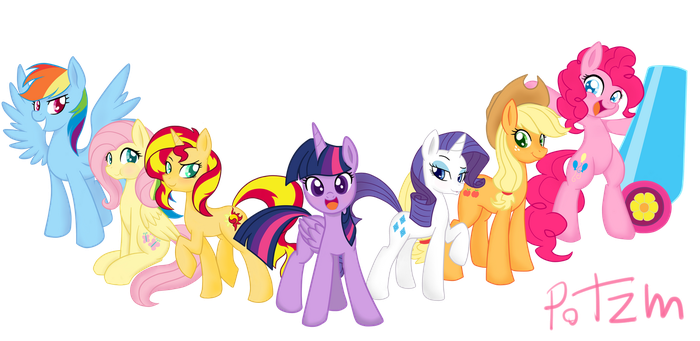 Mane6 and Sunsetshimmer by Potzm