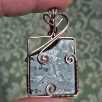 Sky in Earth Gibeon Meteorite Pendant in Copper by magpie-poet