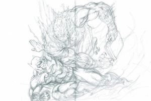 Batman vs Killer croc jim lee hush by dushans