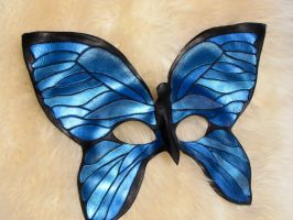 Blue Morpho Butterfly Leather Mask by bezidesigns