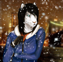 Snowing on Tigeress by GlowyDaBstrd