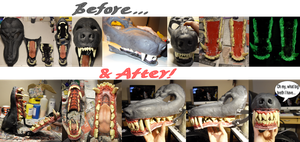 Another new werewolf mask WIP 'before and after' by Farumir