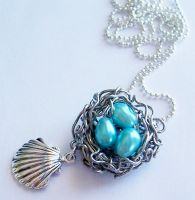 Wire Clam Nest with Pearl Eggs by SeaOfCreations