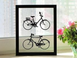 Male and Female Bicycle Original Papercut by DreamPapercut