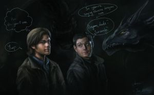 Surrounded... by dragons?.. -SPN ART- by Syllirium